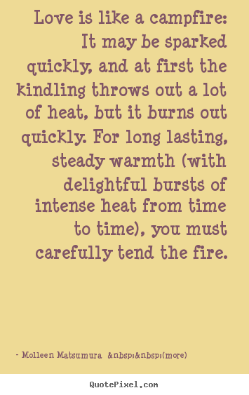 quote about love love is like a campfire it may be